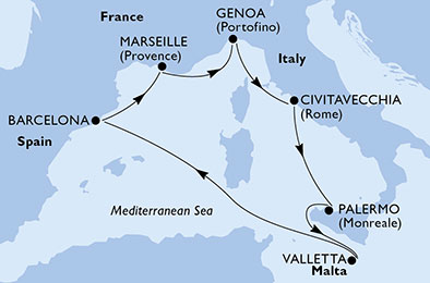 Средиземноморие Msc Grandiosa | Круизи 2020 и 2021 – Оферти